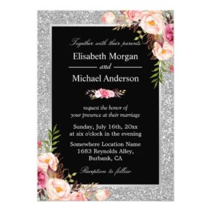 Invitation Suite: Silver Glitter Sparkles Floral