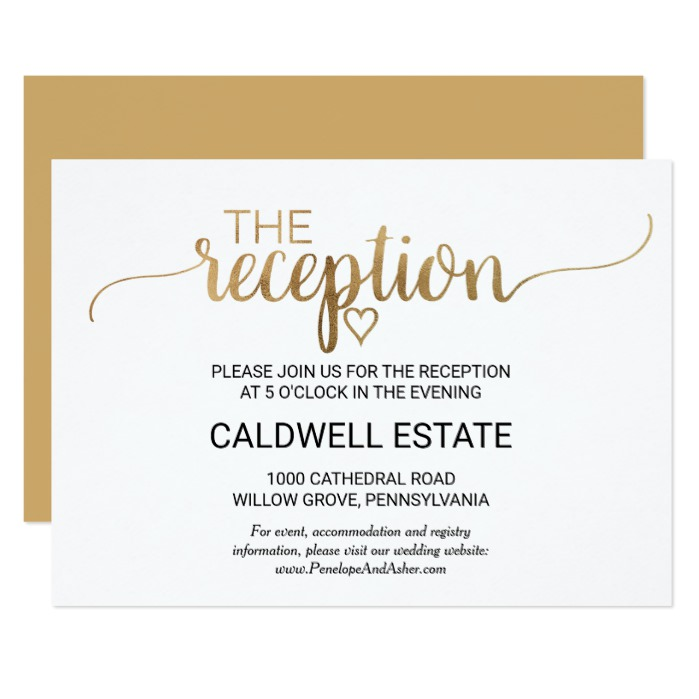 Simple Gold Calligraphy Wedding Invitation Suite Honor And