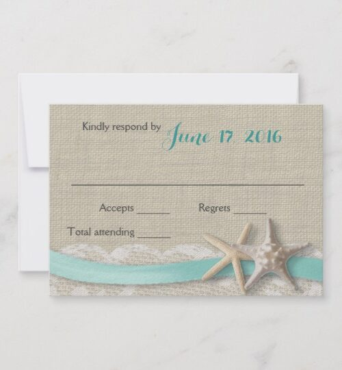 Rustic Beach Starfish and Lace with Aqua Ribbon