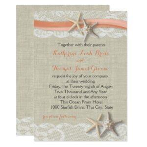 Coral Beach Starfish and Ribbon Wedding