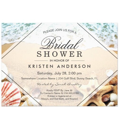 Invitation Suite:  Sandy Beach Starfish Seashell