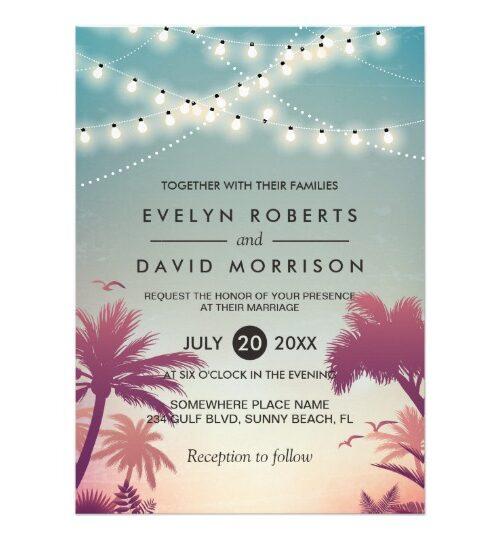 Invitation Suite: Summer Sunset String Lights Palm