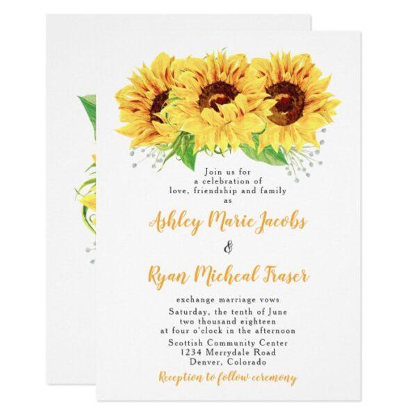 Wedding Invitation Suite: Yellow Sunflower