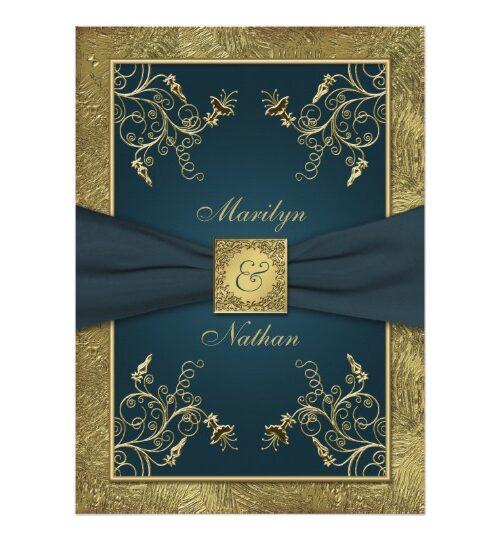 Teal and Gold Floral, Printed Ribbon Wedding Sets