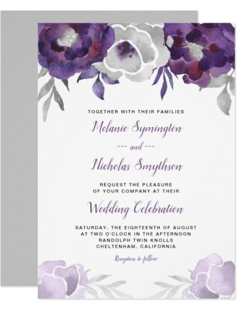 Purple Silver / Gray Watercolor Floral 3963