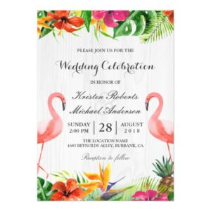 Invitation Suite: Tropical Floral Rustic Wood