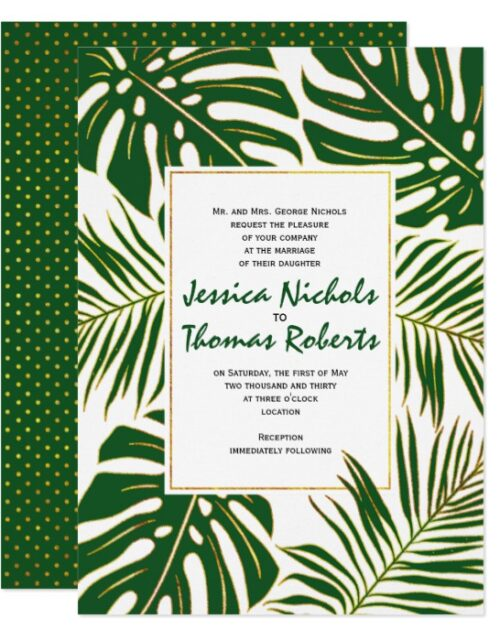 Tropical monstera and palm leaves wedding
