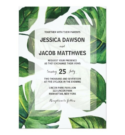 Tropical Palm Tree Wedding Invitation