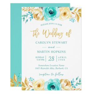 Turquoise Mint Gold Floral Invitation Suite