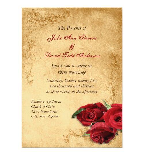 Vintage Roses Wedding invitations