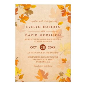 Invitation Suite: Elegant Autumn Maple Leaves