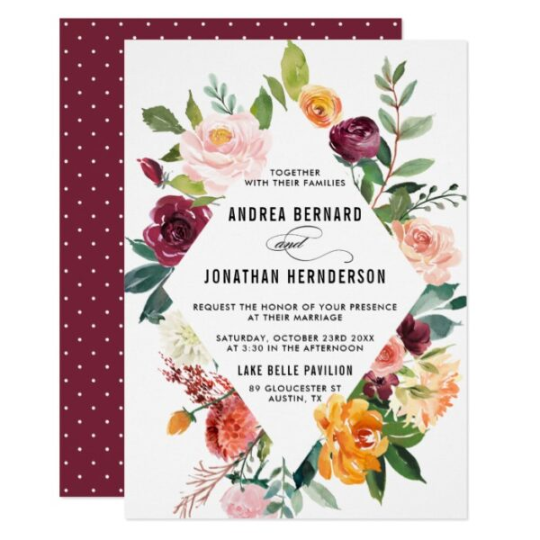Watercolor Autumn Blooms Wedding Collection