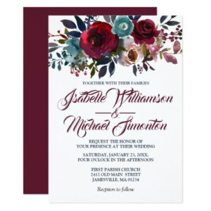 Burgundy Watercolor Boho Chic Floral Collection