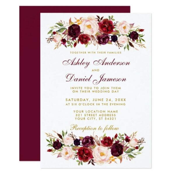 Wedding - Watercolor Burgundy Floral & Gold