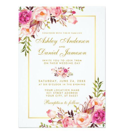 Pink Blush Watercolor Floral Wedding