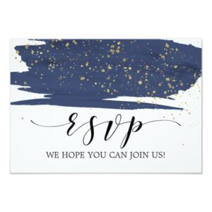 Watercolor Navy, Marsala and Gold Wedding Set