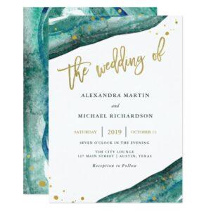 Teal Watercolor Geode Wedding