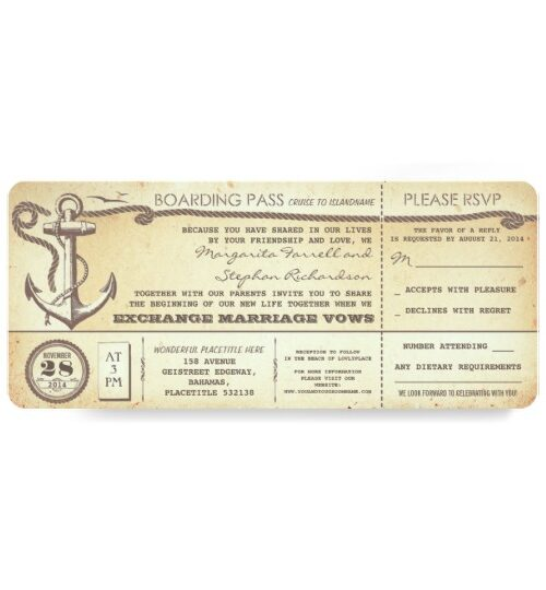 Nautical Anchor Wedding Boarding Pass Collection