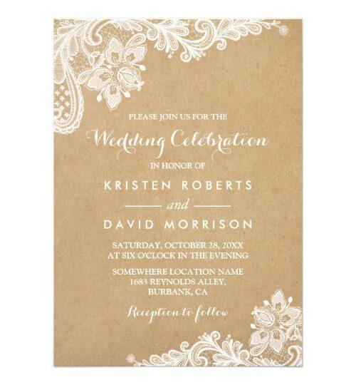 Invitation Suite: Elegant White Lace Kraft
