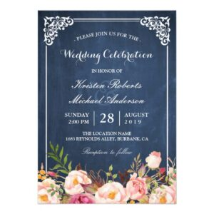 Invitation Suite: Rustic Floral Blue Chalkboard