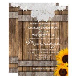 Wedding in Rustic Wood and Lace Sunflower