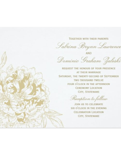 Wedding Collection | Gold Peony Flowers
