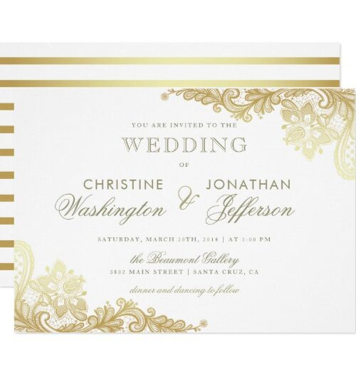 Chic White & Gold Floral Lace Wedding