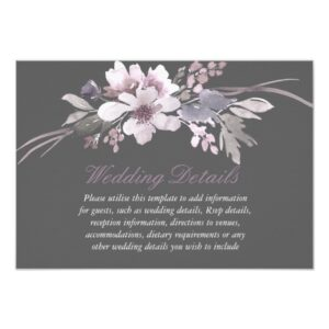 Winter Gray Elegant Floral Wedding Invitation