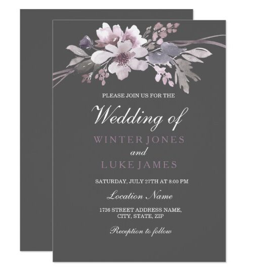 Winter Gray Elegant Floral Wedding Invitation