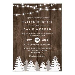 Rustic Wood String Lights Pine Tree Invitation Set