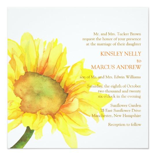Watercolor Sunflower Wedding