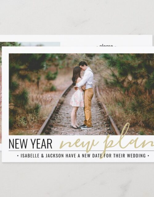 2 Photo Change of Plans Wedding New Years Holiday Save The Date