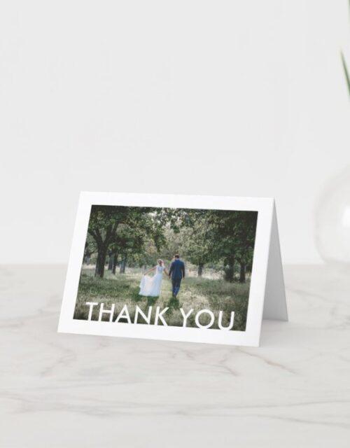 2 Photo Modern Minimalist Simple White Wedding Thank You Card