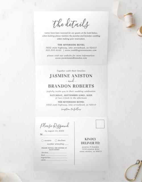3 in 1 Elegant Photo Wedding Tri-Fold Invitation