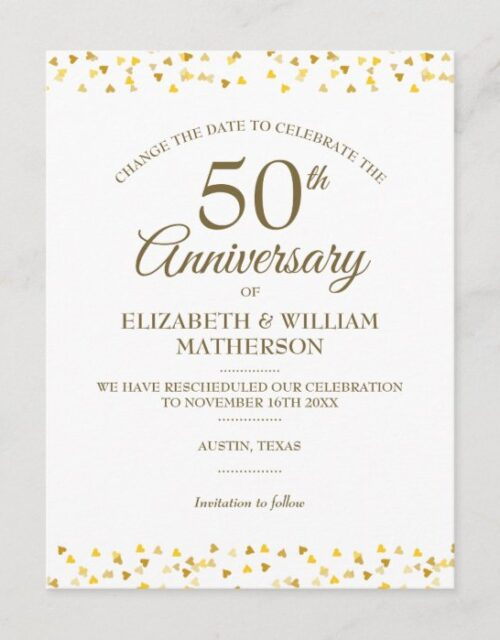 50th Anniversary Golden Hearts Change the Date Announcement Postcard
