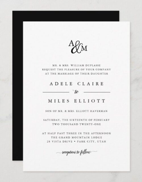 Ampersand Monogram Wedding Invitation