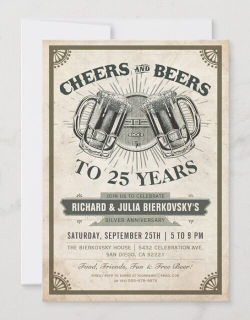 Anniversary Party Invitations | Cheers & Beers