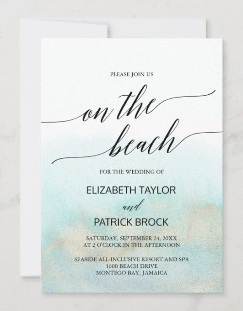 Aqua and Gold Watercolor On The Beach Wedding Invitation