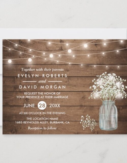 Baby's Breath Mason Jar String Lights Wedding Invitation