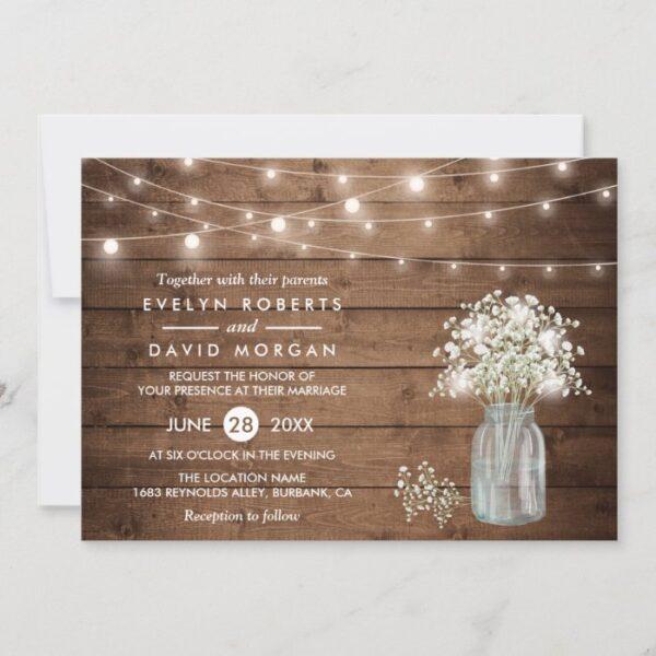 Baby's Breath Mason Jar String Lights Wedding Invitation