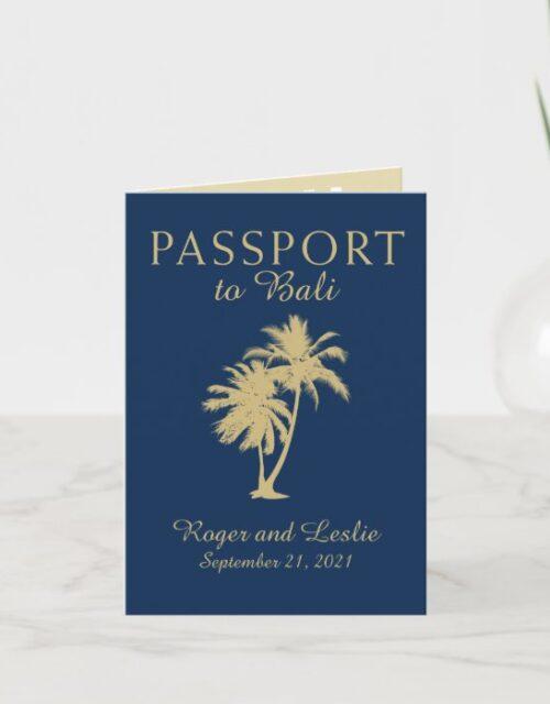 Bali Navy Blue and Gold Wedding Passport Invitation