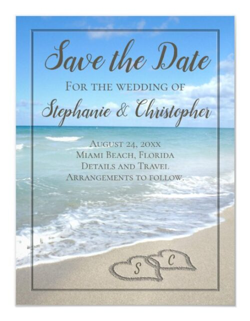 Beach Wedding Monogram Hearts in the Sand Magnetic Invitation