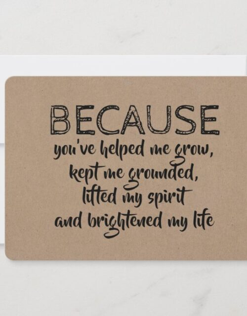 Because you brightened my life BRIDESMAID CARD