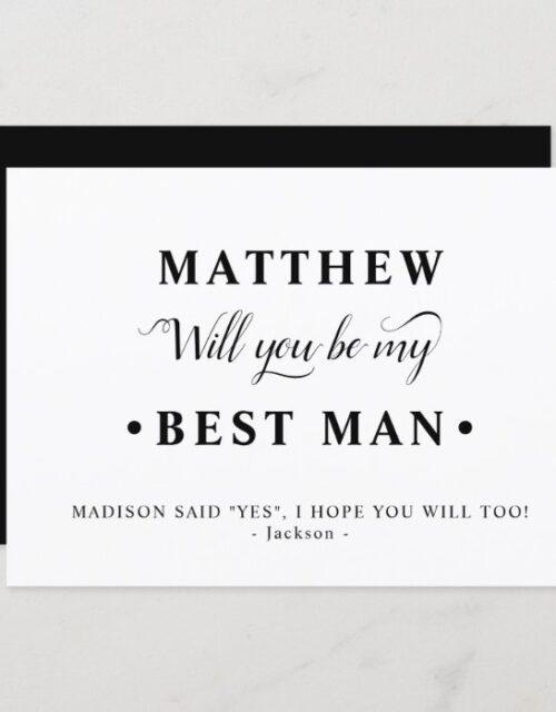Black and White Minimalist Best Man Proposal Card