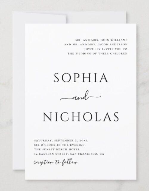 Black and white modern wedding. Simple minimalist Invitation