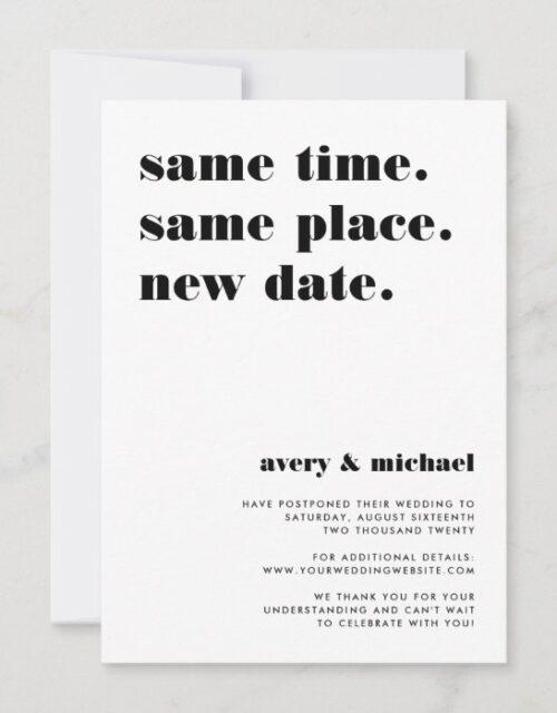 Black | Modern Wedding Postponement Announcement