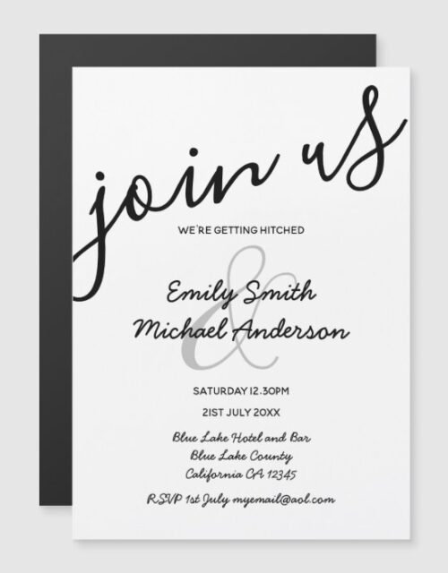 Black + White Wedding Modern Magnetic Handwritten