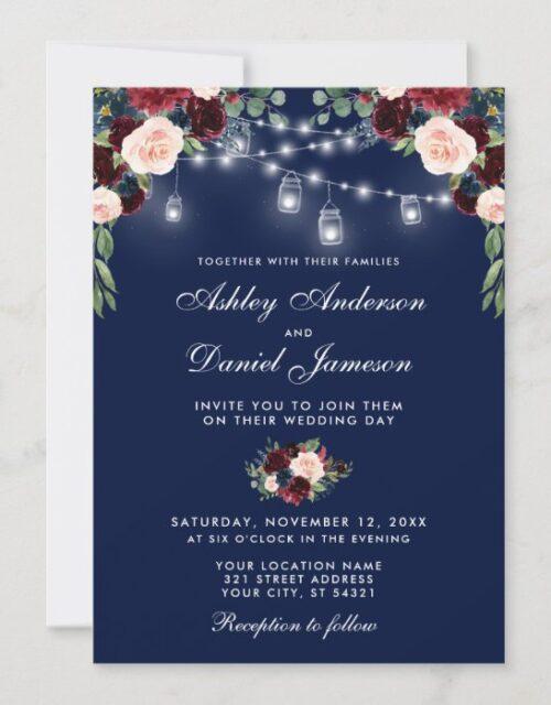 Blue Burgundy Watercolor Floral Lights Wedding Invitation