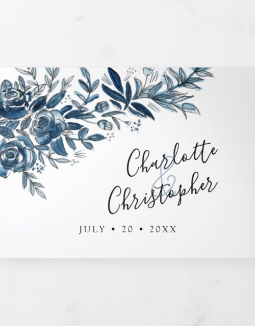 Blue flowers all in one wedding Invitation