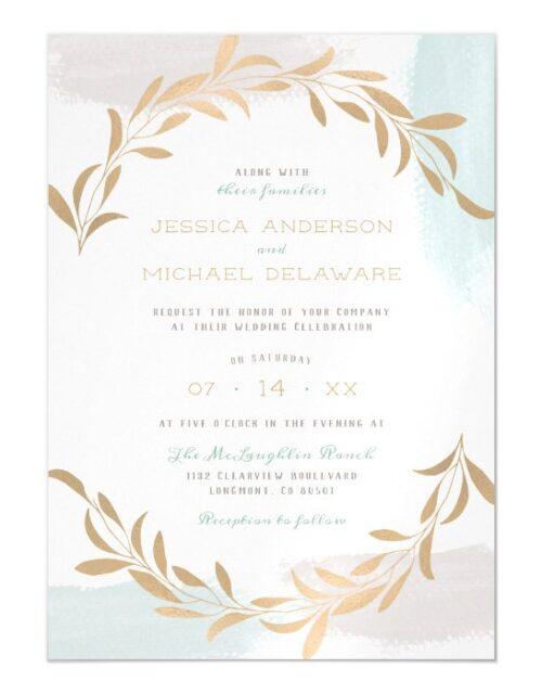 Blue & Tan Painted Brushstrokes Minimalist Wedding Magnetic Invitation